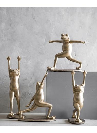 Warm Design Yoga Yapan Kurbağa Dekoratif Obje  Sarı